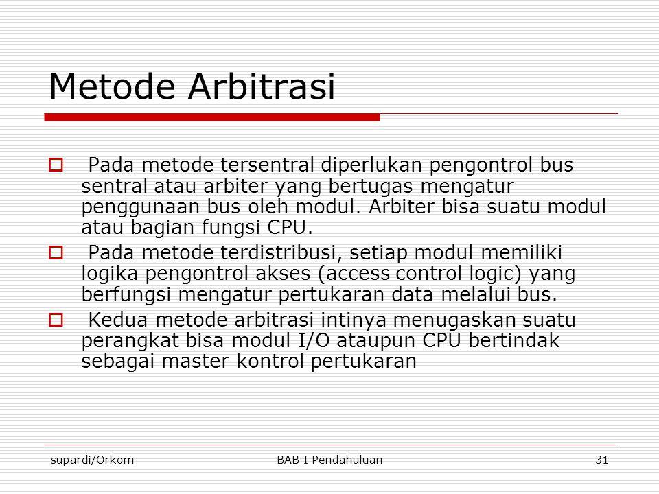supardi/OrkomBAB I Pendahuluan31 Metode Arbitrasi  Pada metode tersentral diperlukan pengontrol bus sentral atau arbiter yang bertugas mengatur pengg