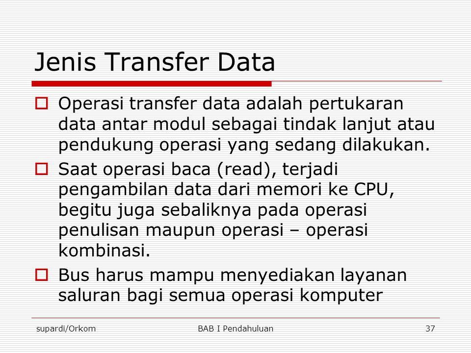 supardi/OrkomBAB I Pendahuluan37 Jenis Transfer Data  Operasi transfer data adalah pertukaran data antar modul sebagai tindak lanjut atau pendukung o