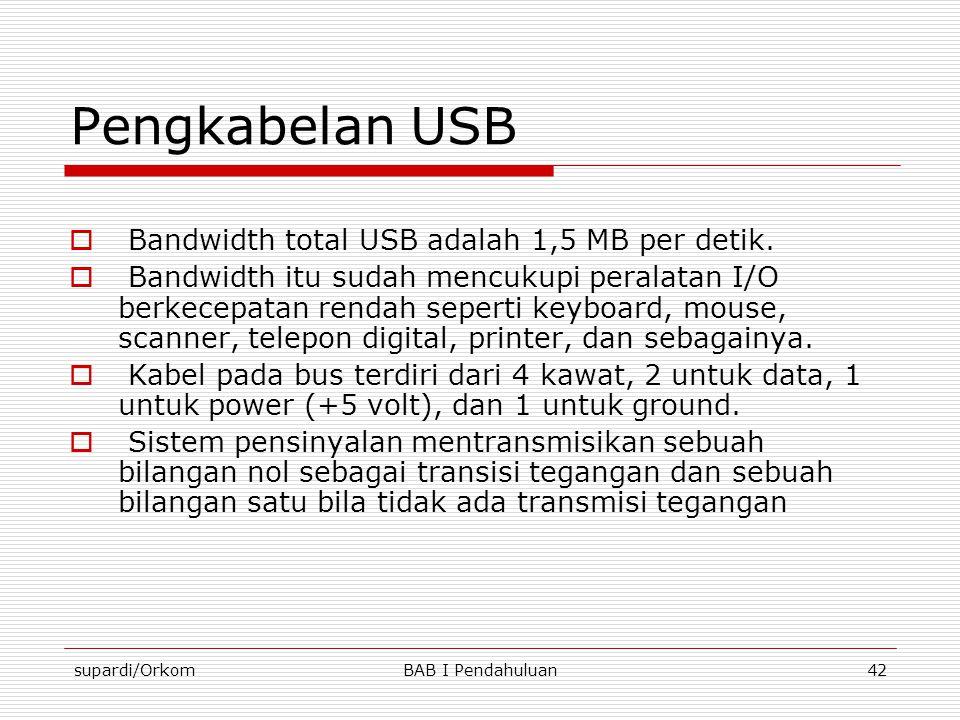supardi/OrkomBAB I Pendahuluan42 Pengkabelan USB  Bandwidth total USB adalah 1,5 MB per detik.  Bandwidth itu sudah mencukupi peralatan I/O berkecep