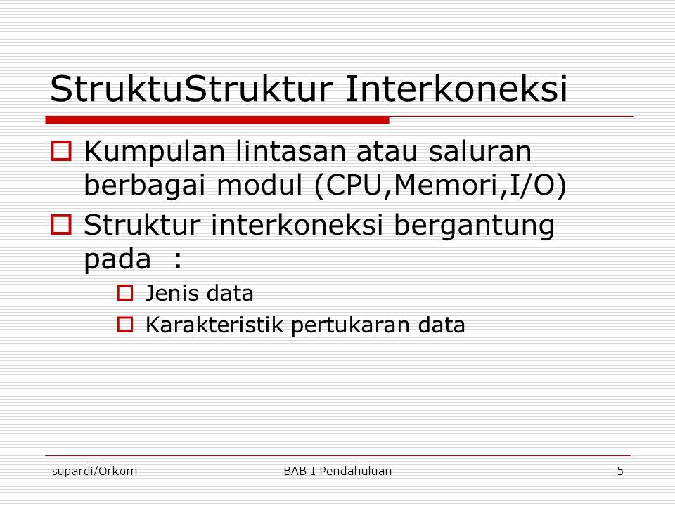 supardi/OrkomBAB I Pendahuluan5 StruktuStruktur Interkoneksi  Kumpulan lintasan atau saluran berbagai modul (CPU,Memori,I/O)  Struktur interkoneksi
