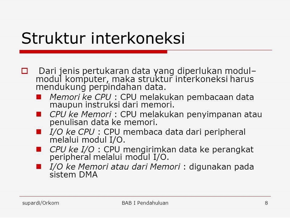 supardi/OrkomBAB I Pendahuluan8 Struktur interkoneksi  Dari jenis pertukaran data yang diperlukan modul– modul komputer, maka struktur interkoneksi h