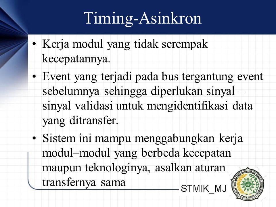 Timing-Asinkron •Kerja modul yang tidak serempak kecepatannya.