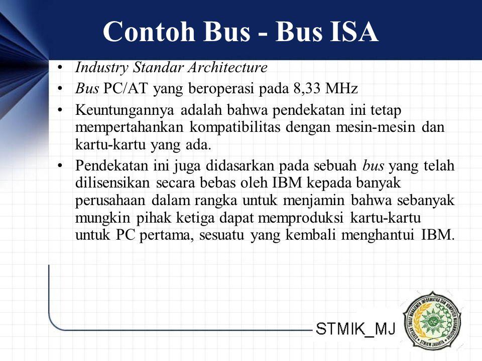 Contoh Bus - Bus ISA •Industry Standar Architecture •Bus PC/AT yang beroperasi pada 8,33 MHz •Keuntungannya adalah bahwa pendekatan ini tetap mempertahankan kompatibilitas dengan mesin-mesin dan kartu-kartu yang ada.