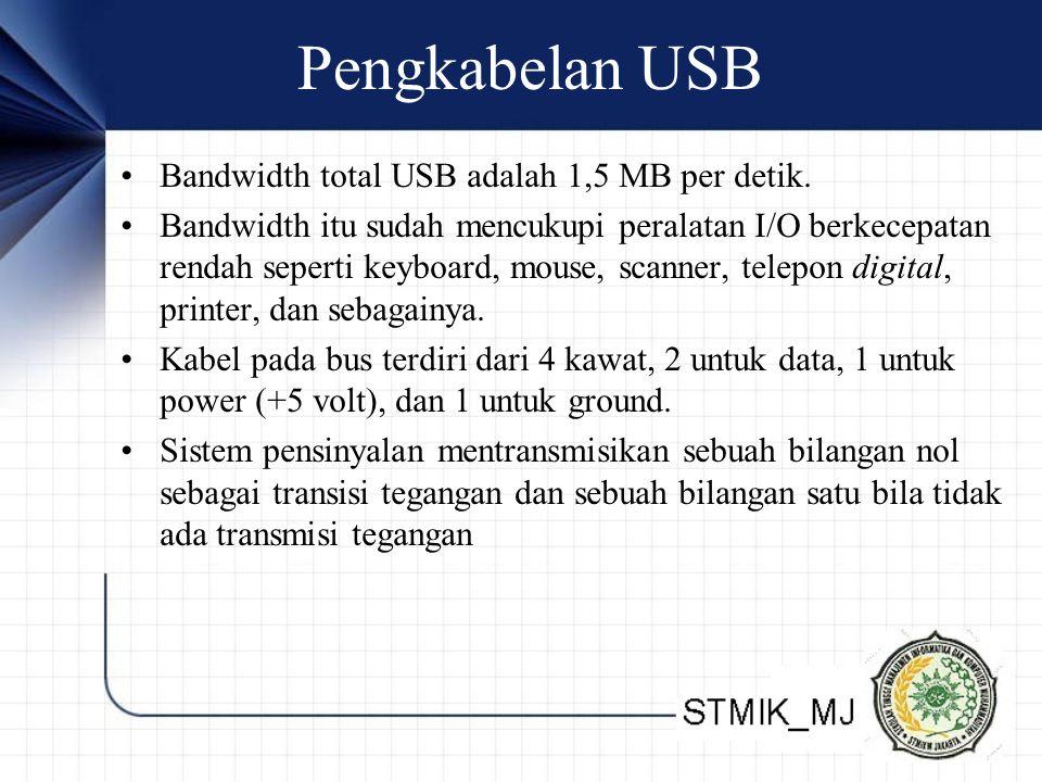Pengkabelan USB •Bandwidth total USB adalah 1,5 MB per detik.