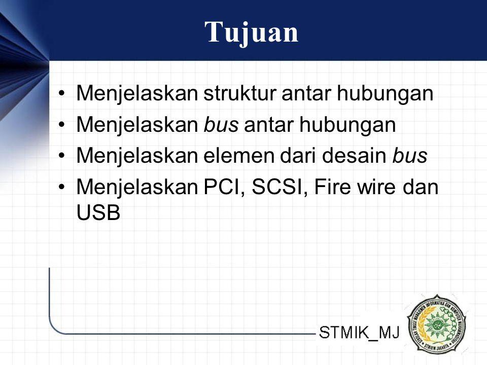 Tujuan • Menjelaskan struktur antar hubungan • Menjelaskan bus antar hubungan • Menjelaskan elemen dari desain bus • Menjelaskan PCI, SCSI, Fire wire dan USB