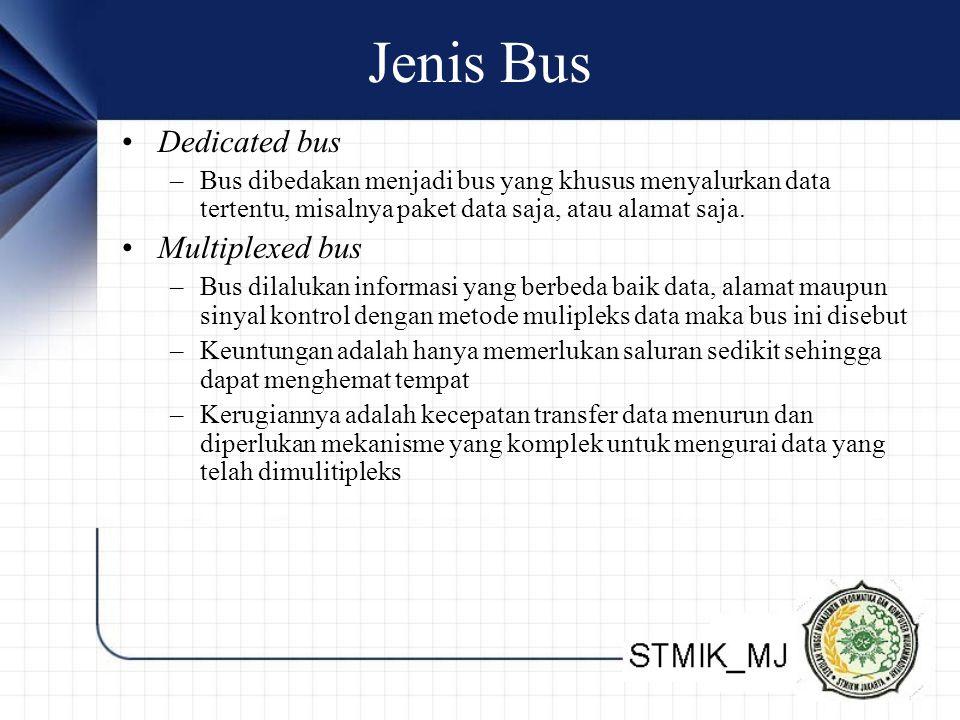 Jenis Bus •Dedicated bus –Bus dibedakan menjadi bus yang khusus menyalurkan data tertentu, misalnya paket data saja, atau alamat saja.