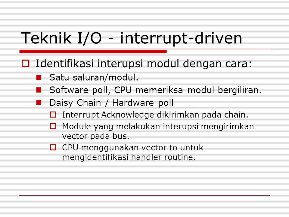 Teknik I/O - interrupt-driven  Identifikasi interupsi modul dengan cara:  Satu saluran/modul.