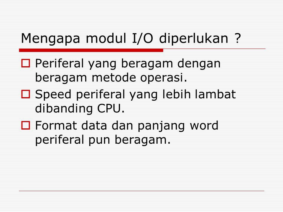 Teknik I/O - interrupt-driven  Dikendalikan interupsi  CPU mengirim perintah I/O ke modul, kemudian mengerjakan proses lainnya.