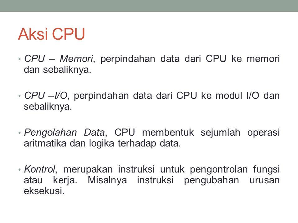 Aksi CPU • CPU – Memori, perpindahan data dari CPU ke memori dan sebaliknya.