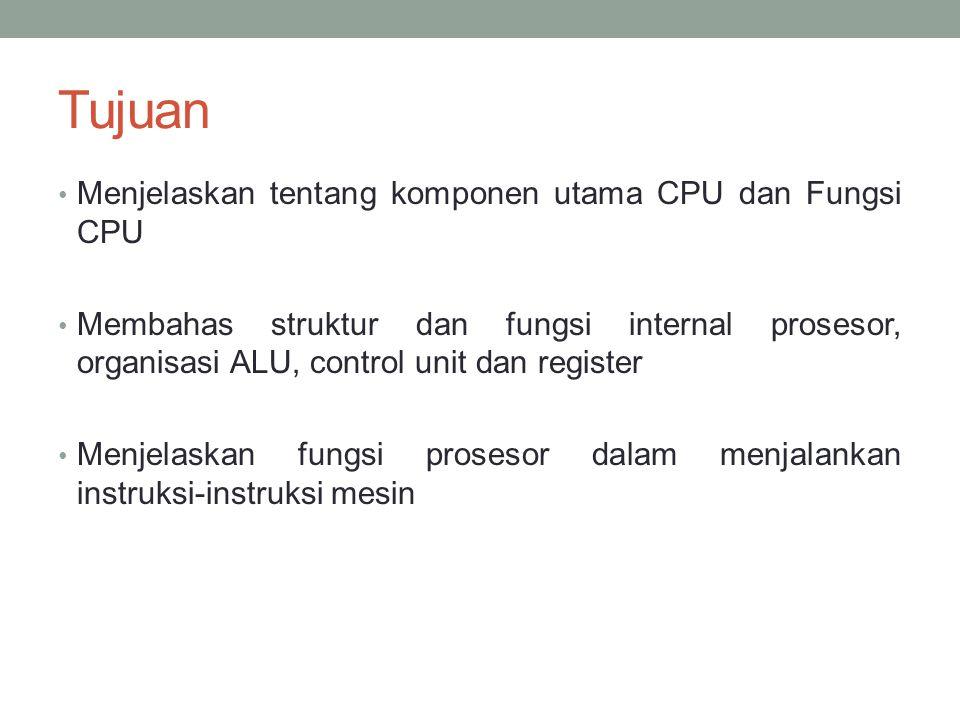 Tujuan • Menjelaskan tentang komponen utama CPU dan Fungsi CPU • Membahas struktur dan fungsi internal prosesor, organisasi ALU, control unit dan register • Menjelaskan fungsi prosesor dalam menjalankan instruksi-instruksi mesin