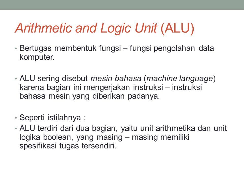 Arithmetic and Logic Unit (ALU) • Bertugas membentuk fungsi – fungsi pengolahan data komputer. • ALU sering disebut mesin bahasa (machine language) ka