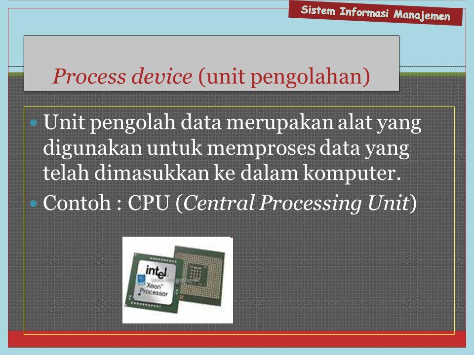 Process device (unit pengolahan)  Unit pengolah data merupakan alat yang digunakan untuk memproses data yang telah dimasukkan ke dalam komputer.  Co