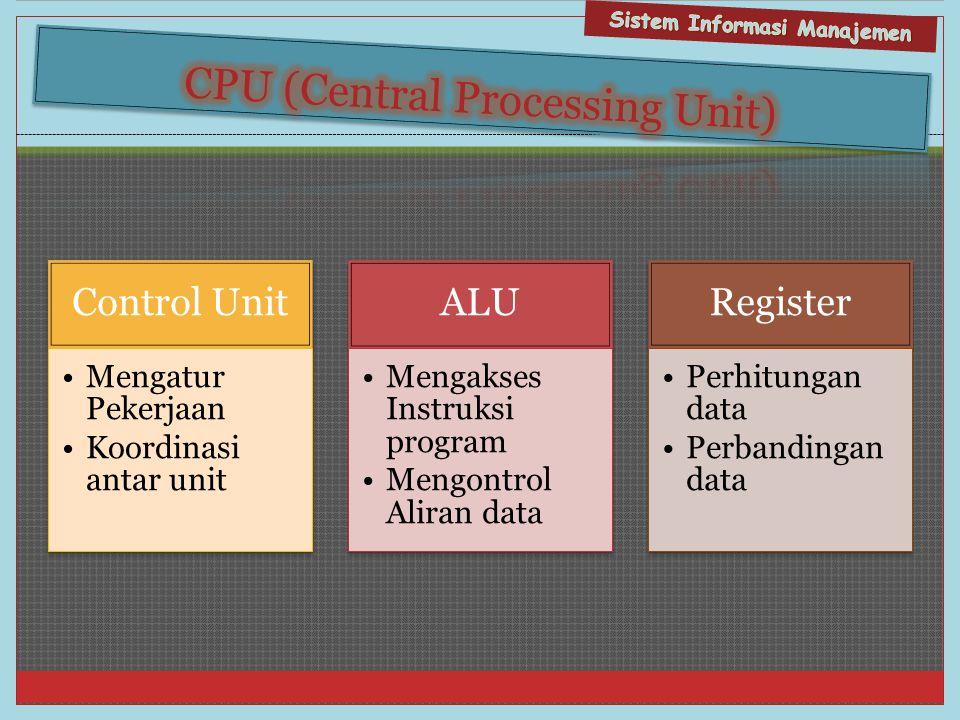 Control Unit •Mengatur Pekerjaan •Koordinasi antar unit ALU •Mengakses Instruksi program •Mengontrol Aliran data Register •Perhitungan data •Perbandin