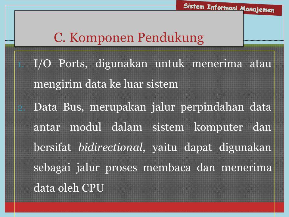 C. Komponen Pendukung 1. I/O Ports, digunakan untuk menerima atau mengirim data ke luar sistem 2. Data Bus, merupakan jalur perpindahan data antar mod