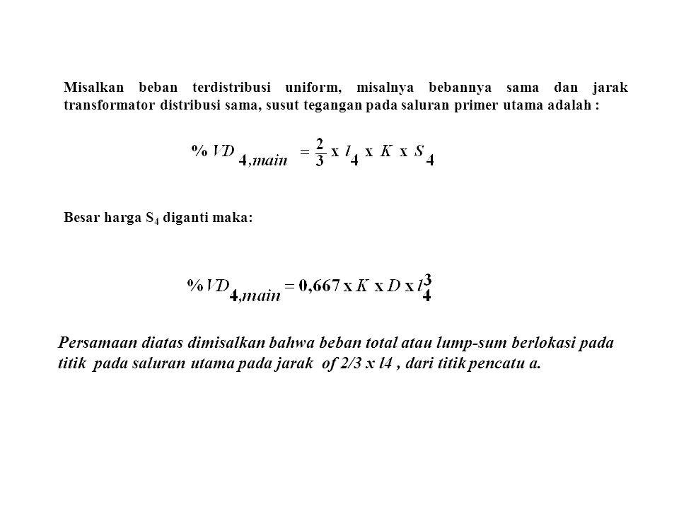 Misalkan beban terdistribusi uniform, misalnya bebannya sama dan jarak transformator distribusi sama, susut tegangan pada saluran primer utama adalah