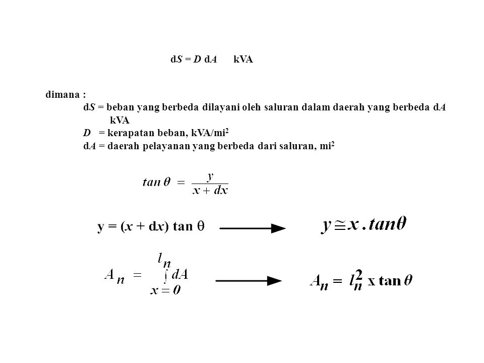 dS = D dA kVA dimana : dS = beban yang berbeda dilayani oleh saluran dalam daerah yang berbeda dA kVA D = kerapatan beban, kVA/mi 2 dA = daerah pelaya