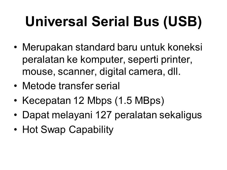 Universal Serial Bus (USB) •Merupakan standard baru untuk koneksi peralatan ke komputer, seperti printer, mouse, scanner, digital camera, dll. •Metode