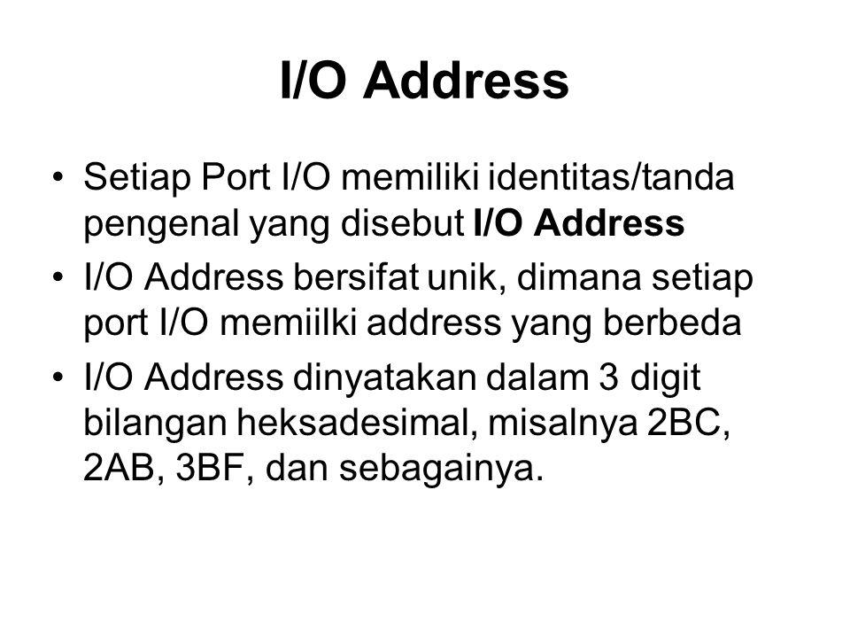 I/O Address •Setiap Port I/O memiliki identitas/tanda pengenal yang disebut I/O Address •I/O Address bersifat unik, dimana setiap port I/O memiilki address yang berbeda •I/O Address dinyatakan dalam 3 digit bilangan heksadesimal, misalnya 2BC, 2AB, 3BF, dan sebagainya.