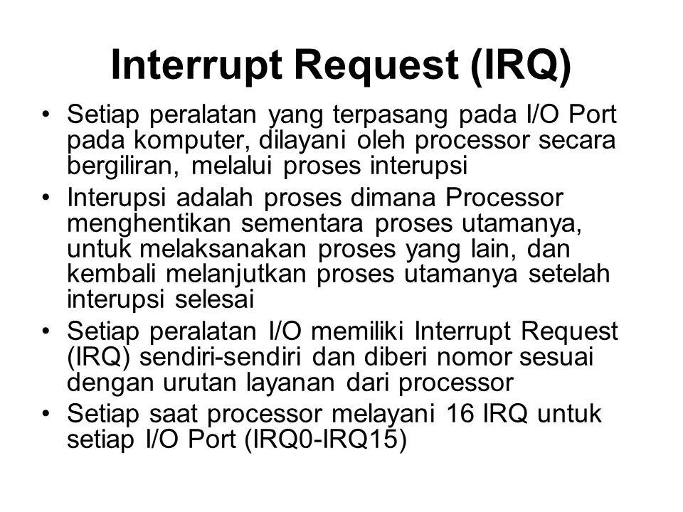 Interrupt Request (IRQ) •Setiap peralatan yang terpasang pada I/O Port pada komputer, dilayani oleh processor secara bergiliran, melalui proses interupsi •Interupsi adalah proses dimana Processor menghentikan sementara proses utamanya, untuk melaksanakan proses yang lain, dan kembali melanjutkan proses utamanya setelah interupsi selesai •Setiap peralatan I/O memiliki Interrupt Request (IRQ) sendiri-sendiri dan diberi nomor sesuai dengan urutan layanan dari processor •Setiap saat processor melayani 16 IRQ untuk setiap I/O Port (IRQ0-IRQ15)