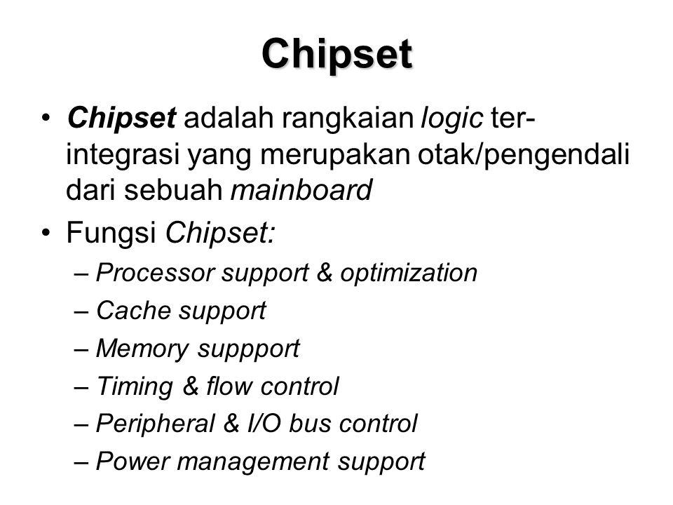 Chipset •Chipset adalah rangkaian logic ter- integrasi yang merupakan otak/pengendali dari sebuah mainboard •Fungsi Chipset: –Processor support & optimization –Cache support –Memory suppport –Timing & flow control –Peripheral & I/O bus control –Power management support