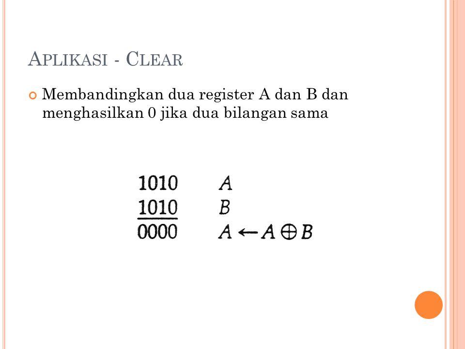 A PLIKASI - C LEAR Membandingkan dua register A dan B dan menghasilkan 0 jika dua bilangan sama