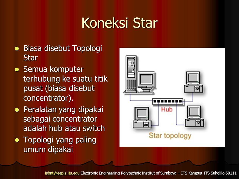 isbat@eepis-its.eduisbat@eepis-its.edu Electronic Engineering Polytechnic Institut of Surabaya – ITS Kampus ITS Sukolilo 60111 isbat@eepis-its.edu Extended Star  Beberapa jaringan star digabung menjadi satu jaringan star yang besar