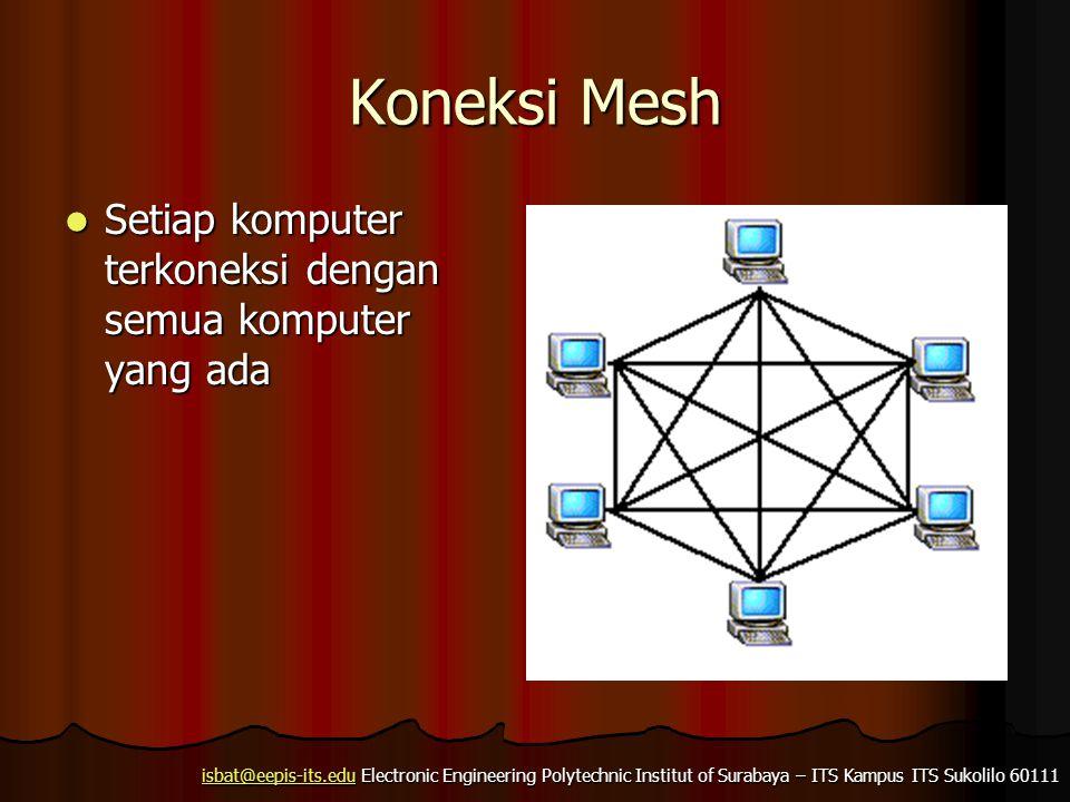 isbat@eepis-its.eduisbat@eepis-its.edu Electronic Engineering Polytechnic Institut of Surabaya – ITS Kampus ITS Sukolilo 60111 isbat@eepis-its.edu Koneksi Secara Logis  Biasa disebut sebagai Topologi Logik Jaringan  Berupa aturan supaya perangkat jaringan bisa saling berkomunikasi.