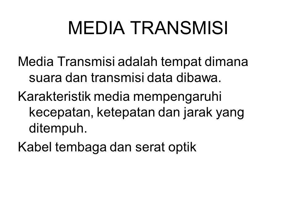 MEDIA TRANSMISI Media Transmisi adalah tempat dimana suara dan transmisi data dibawa. Karakteristik media mempengaruhi kecepatan, ketepatan dan jarak