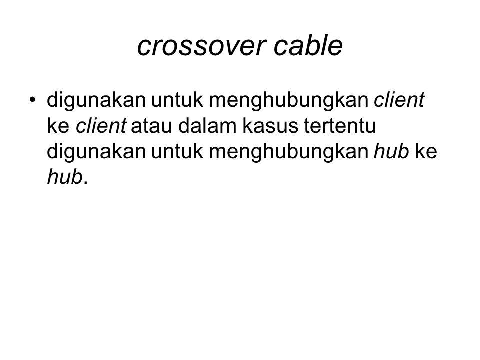 crossover cable •digunakan untuk menghubungkan client ke client atau dalam kasus tertentu digunakan untuk menghubungkan hub ke hub.
