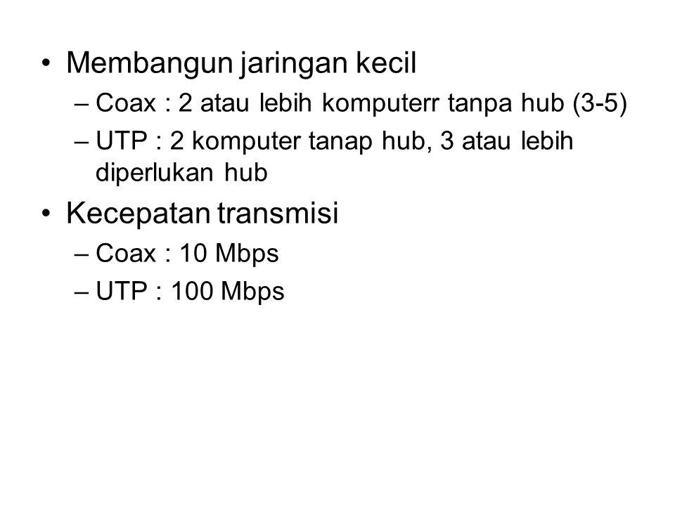 •Membangun jaringan kecil –Coax : 2 atau lebih komputerr tanpa hub (3-5) –UTP : 2 komputer tanap hub, 3 atau lebih diperlukan hub •Kecepatan transmisi