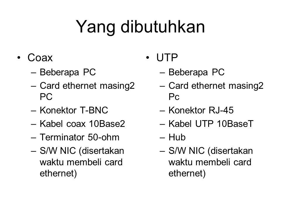Yang dibutuhkan •Coax –Beberapa PC –Card ethernet masing2 PC –Konektor T-BNC –Kabel coax 10Base2 –Terminator 50-ohm –S/W NIC (disertakan waktu membeli