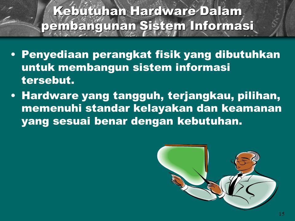 15 Kebutuhan Hardware Dalam pembangunan Sistem Informasi •Penyediaan perangkat fisik yang dibutuhkan untuk membangun sistem informasi tersebut. •Hardw