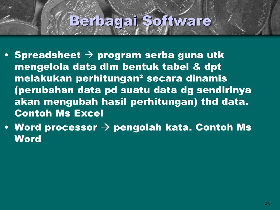20 Berbagai Software •Spreadsheet  program serba guna utk mengelola data dlm bentuk tabel & dpt melakukan perhitungan² secara dinamis (perubahan data