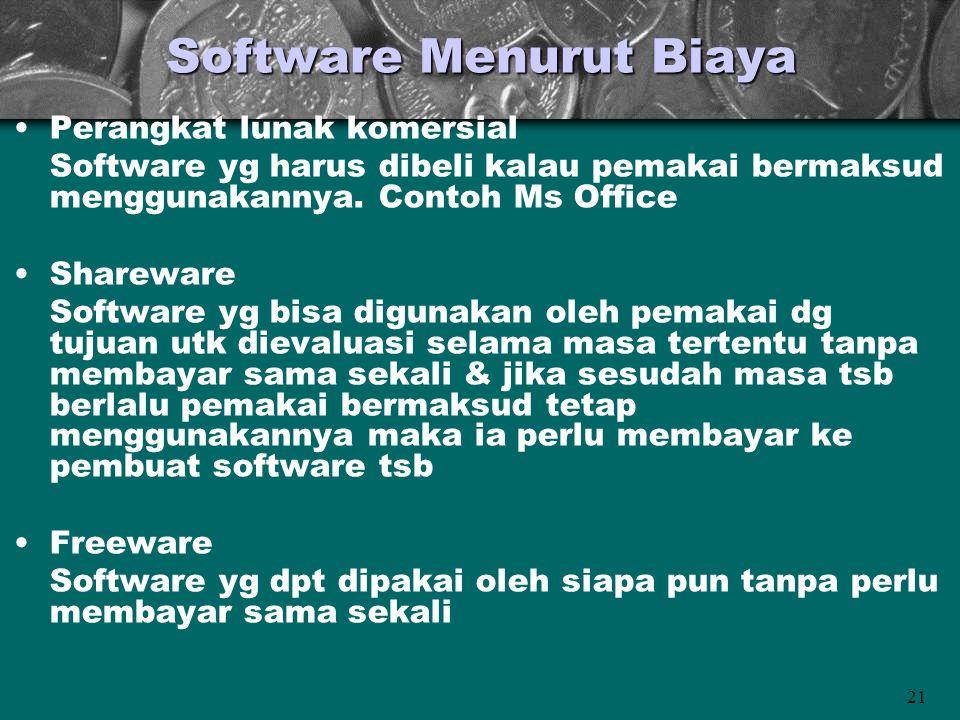 21 Software Menurut Biaya •Perangkat lunak komersial Software yg harus dibeli kalau pemakai bermaksud menggunakannya. Contoh Ms Office •Shareware Soft