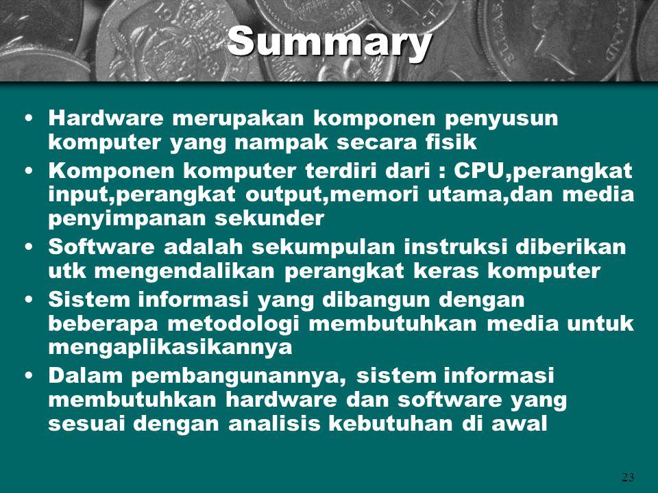 23Summary •Hardware merupakan komponen penyusun komputer yang nampak secara fisik •Komponen komputer terdiri dari : CPU,perangkat input,perangkat outp