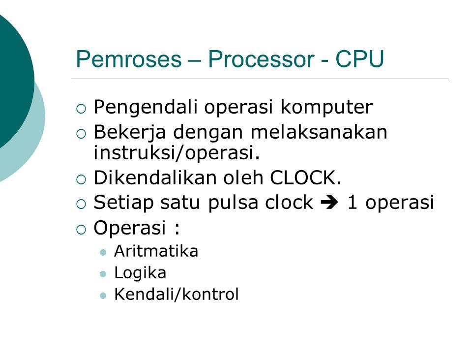 Pemroses – Processor - CPU  Pengendali operasi komputer  Bekerja dengan melaksanakan instruksi/operasi.  Dikendalikan oleh CLOCK.  Setiap satu pul