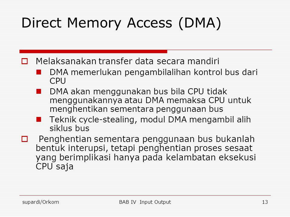 supardi/OrkomBAB IV Input Output13 Direct Memory Access (DMA)  Melaksanakan transfer data secara mandiri  DMA memerlukan pengambilalihan kontrol bus