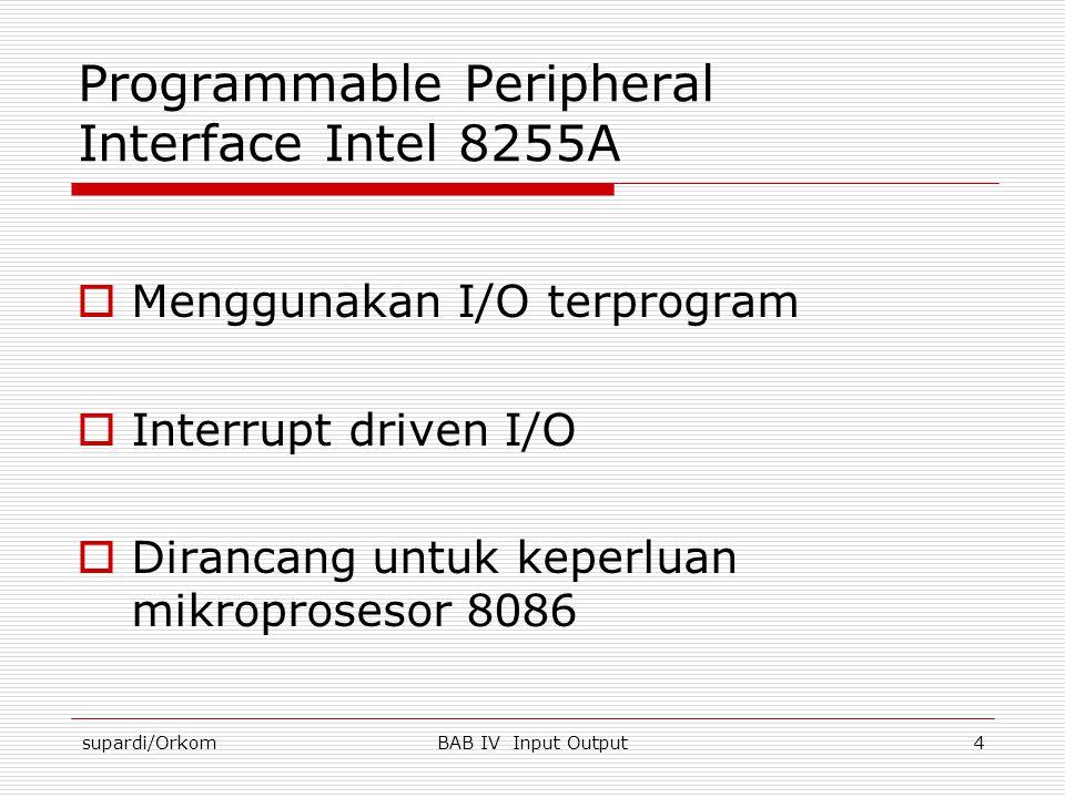 supardi/OrkomBAB IV Input Output4 Programmable Peripheral Interface Intel 8255A  Menggunakan I/O terprogram  Interrupt driven I/O  Dirancang untuk