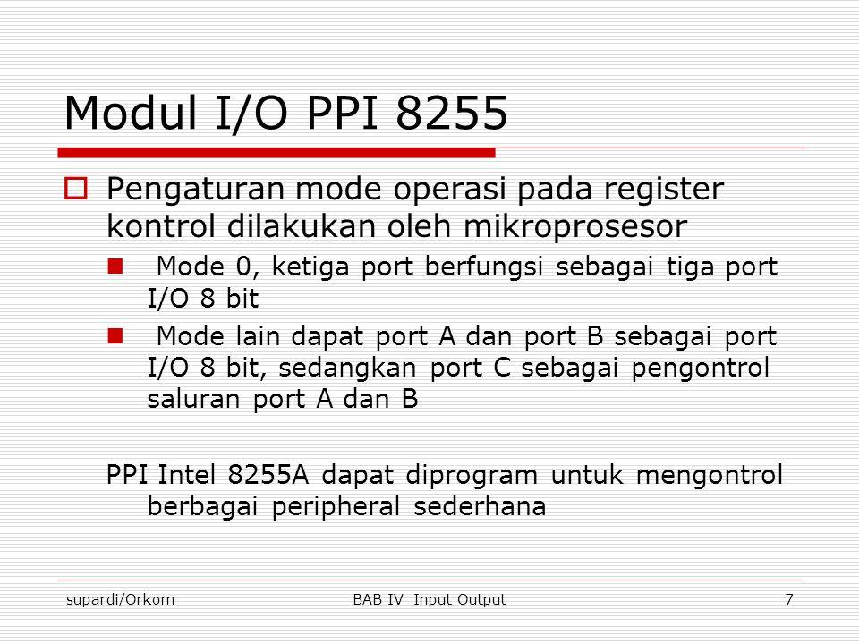 supardi/OrkomBAB IV Input Output7 Modul I/O PPI 8255  Pengaturan mode operasi pada register kontrol dilakukan oleh mikroprosesor  Mode 0, ketiga por
