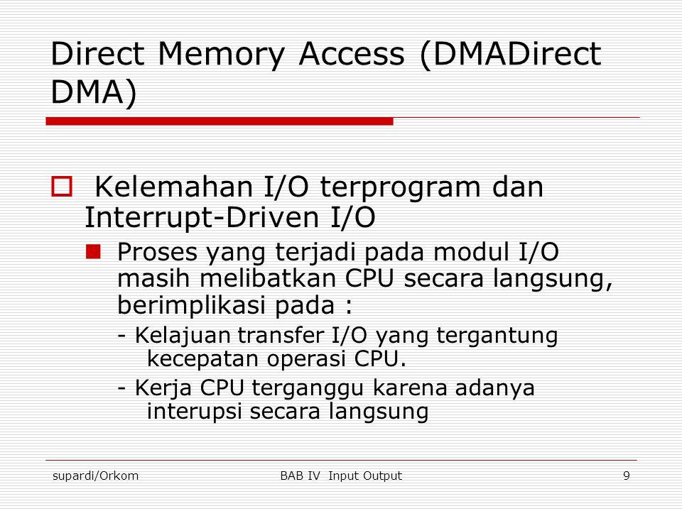 supardi/OrkomBAB IV Input Output9 Direct Memory Access (DMADirect DMA)  Kelemahan I/O terprogram dan Interrupt-Driven I/O  Proses yang terjadi pada