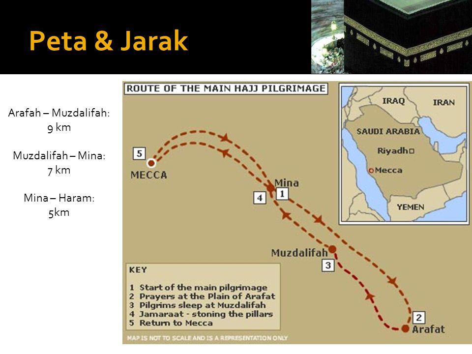 Peta & Jarak Arafah – Muzdalifah: 9 km Muzdalifah – Mina: 7 km Mina – Haram: 5km