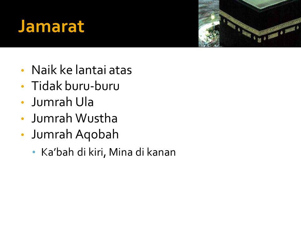 • Naik ke lantai atas • Tidak buru-buru • Jumrah Ula • Jumrah Wustha • Jumrah Aqobah • Ka'bah di kiri, Mina di kanan
