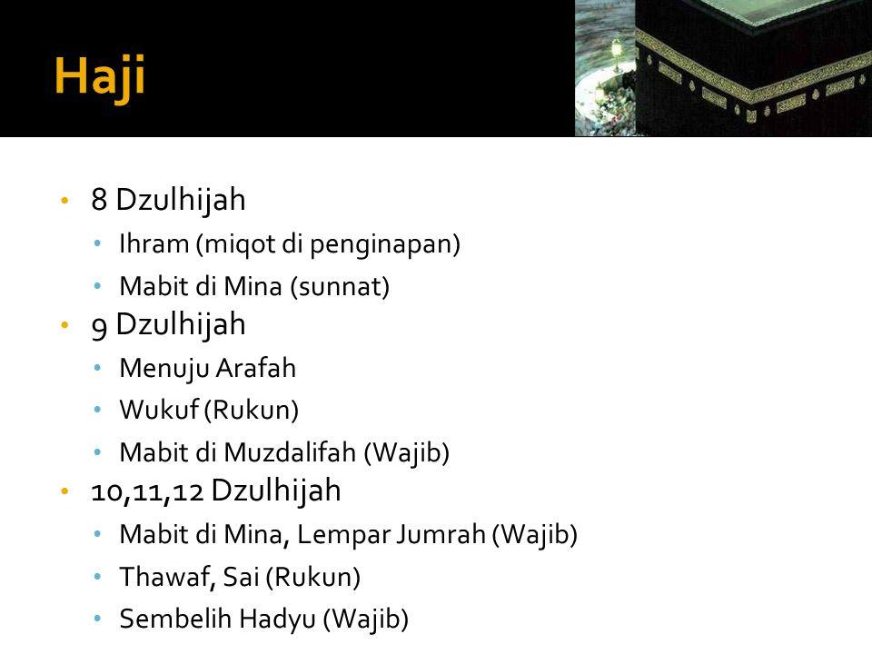 Haji • 8 Dzulhijah • Ihram (miqot di penginapan) • Mabit di Mina (sunnat) • 9 Dzulhijah • Menuju Arafah • Wukuf (Rukun) • Mabit di Muzdalifah (Wajib)
