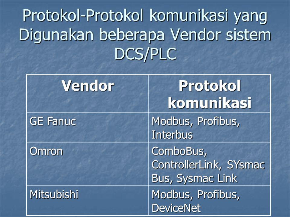 Protokol-Protokol komunikasi yang Digunakan beberapa Vendor sistem DCS/PLC Vendor Protokol komunikasi GE Fanuc Modbus, Profibus, Interbus Omron ComboB