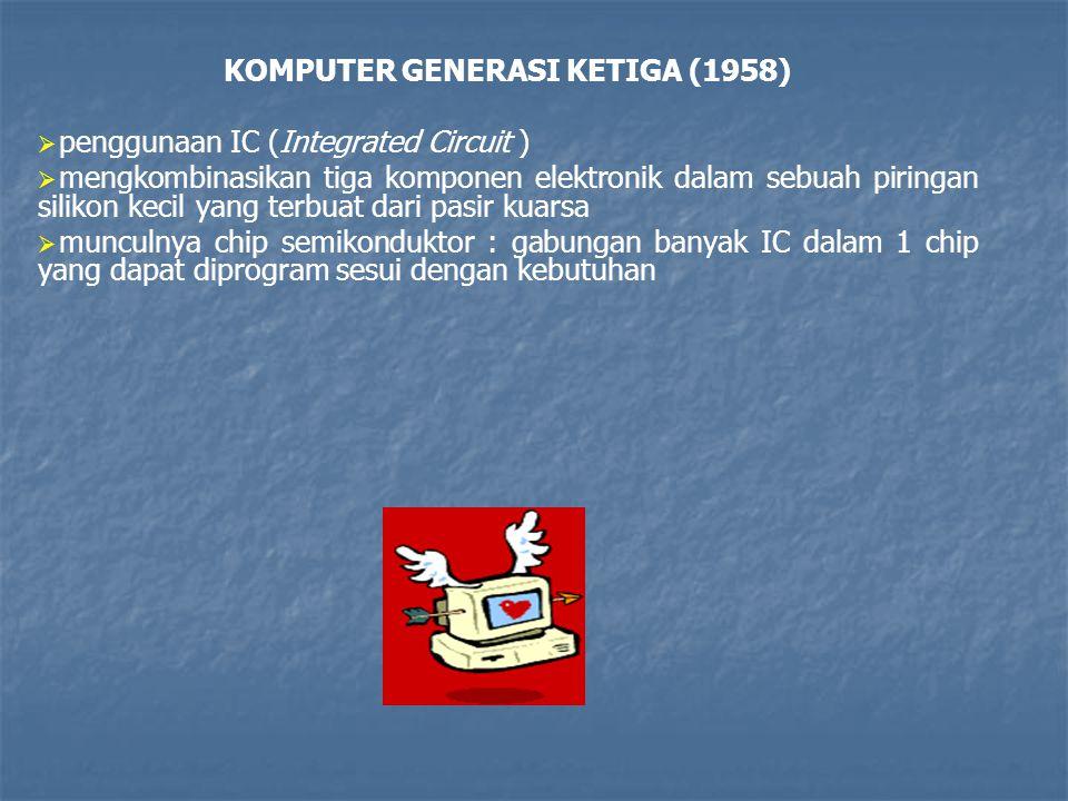 KOMPUTER GENERASI KETIGA (1958)   penggunaan IC (Integrated Circuit )   mengkombinasikan tiga komponen elektronik dalam sebuah piringan silikon ke