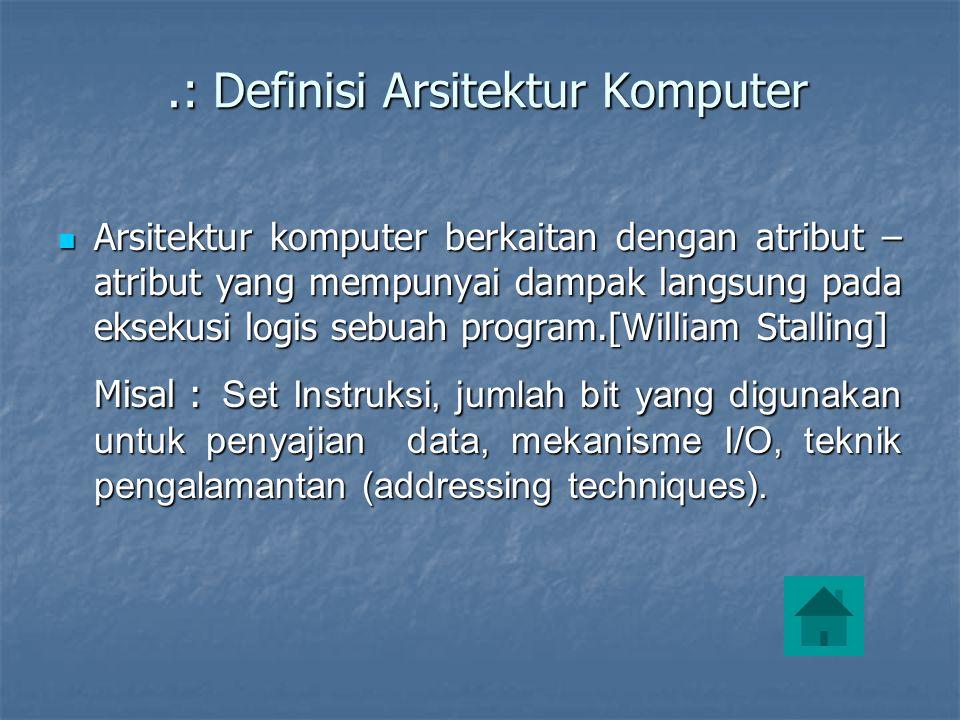.: Definisi Arsitektur Komputer.: Definisi Arsitektur Komputer  Arsitektur komputer berkaitan dengan atribut – atribut yang mempunyai dampak langsung