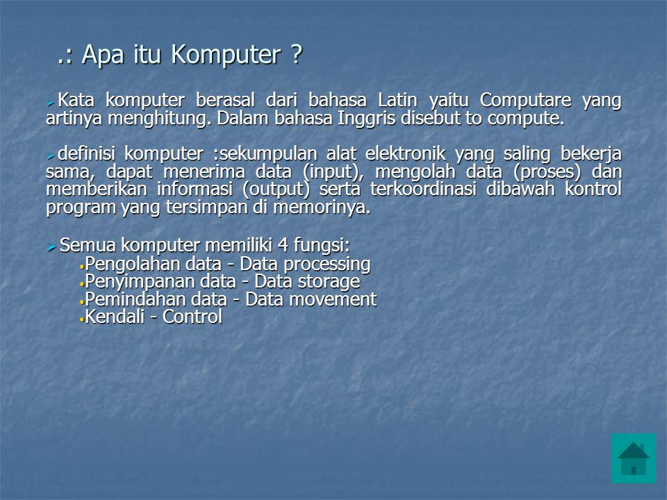 .: Apa itu Komputer ?  Kata komputer berasal dari bahasa Latin yaitu Computare yang artinya menghitung. Dalam bahasa Inggris disebut to compute.  de