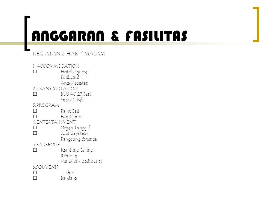 ANGGARAN & FASILITAS KEGIATAN 2 HARI 1 MALAM 1. ACCOMMODATION  Hotel Agusta Fullboard Area Kegiatan 2.TRANSPORTATION  BUS AC 27 Seat Snack 2 kali 3.