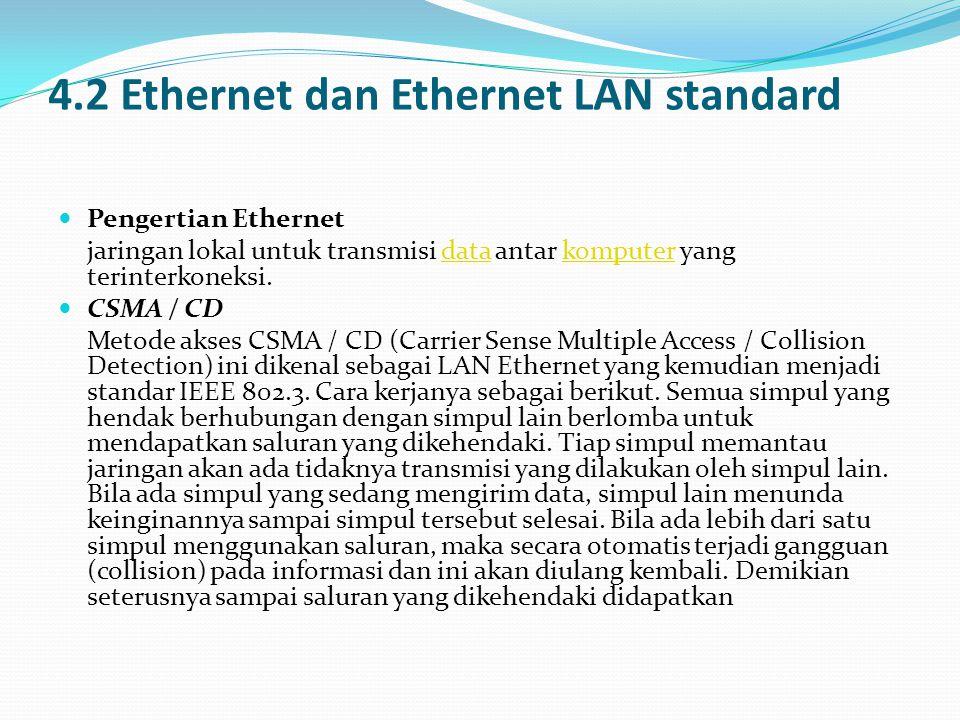 4.2 Ethernet dan Ethernet LAN standard  Pengertian Ethernet jaringan lokal untuk transmisi data antar komputer yang terinterkoneksi.datakomputer  CSMA / CD Metode akses CSMA / CD (Carrier Sense Multiple Access / Collision Detection) ini dikenal sebagai LAN Ethernet yang kemudian menjadi standar IEEE 802.3.