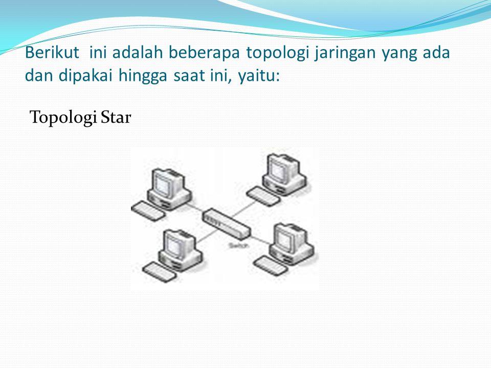Berikut ini adalah beberapa topologi jaringan yang ada dan dipakai hingga saat ini, yaitu: Topologi Star